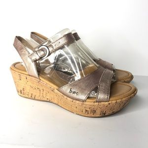 Boc Almeta Wedge Sandal Light Pink Metallic New